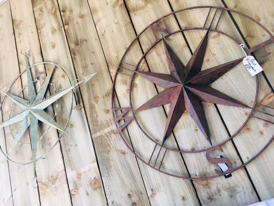 Lavender House Metal Garden Wall Compass