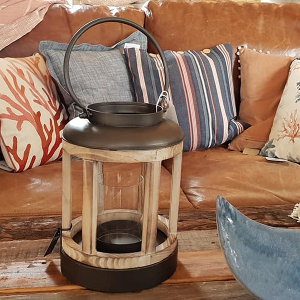 Metal and Wooden Candle Lantern